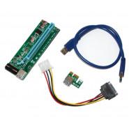 Райзер PCI-EX, x1=>x16, 4-pin MOLEX, SATA=>4Pin, USB 3.0 AM-AM 0,6 м (синий) , конденсаторы SR
