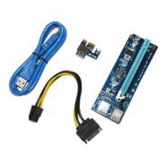 Райзер PCI-EX, x1=>x16, 6-pin, SATA=>6Pin, USB 3.0 AM-AM 0,6 м (синий) , конденсаторы С536, Пакет